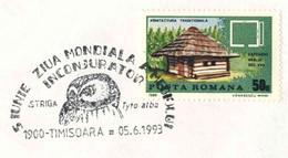 617  Chouette Effraie: Oblitération Temp. 1993 - Barn Owl Pictorial Cancel From Romania On Plain Cover. Hibou - Owls
