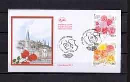 """"""" LYON ROSES 2015 """" Sur Enveloppe 1er Jour De 2015. N° YT 4957 4958. Parfait état FDC - Roses"""