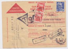 Contre Remboursement 1949 Oblitération De Bagneux Pour Lyon Recouvrement Taxé 20 F Avec 2 X 10 F Timbre Taxe - Lettere Tassate