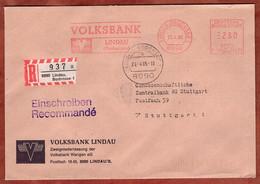 Einschreiben Reco, Pitney Bowes E10-8409, Volksbank Lindau, 280 Pfg, 1985 (1766) - Machine Stamps (ATM)