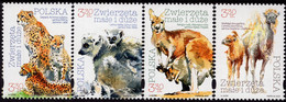 Poland - 2020 - Animals And Their Cubs - Warsaw Zoo - Mint Stamp Set With Varnish - Unused Stamps
