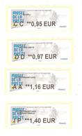 4 Vignette Lisa 2020 Paris Atm Frama Cinderella Label CC DD AA IP MUSEE POSTE FACTEUR BICYCLETTE VELO FAHRRAD CYCLISMO - 2010-... Abgebildete Automatenmarke