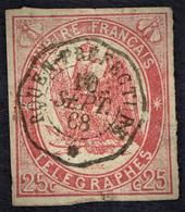 France TELEGRAPHE 1868, Yvert  # 1 , 25 C Rouge - Telegraph And Telephone