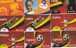 Angola, 9 Different Unitel Cards, Many Of Them Football Related, 2 Scans. - Angola