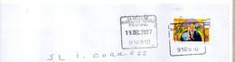 Cachet Manuel Carré Essonne YERRES PRINCIPAL Code Regate 916910 Cachet De L'Enseigne Ne Devrait Pas être Sur Du Courrier - Manual Postmarks