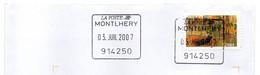 Cachet Manuel Carré Essonne MONTLHERY Code Regate 914250 Ce Cachet De L'Enseigne Ne Devrait Pas être Sur Du Courrier - Manual Postmarks