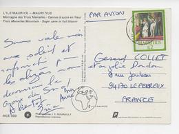 ILE MAURICE 1986 /Elisabeth Façiale R2 (pas Trouvé ??) Sur CPM Montagne Des 3 Mamelles - Cannes à Sucre En Fleur !! - Mauricio (1968-...)