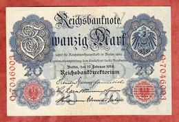 Banknote, Deutsches Reich, 20 Zwanzig Mark, Berlin 1914, Gebraucht (1797) - 20 Mark