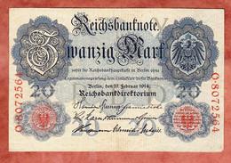 Banknote, Deutsches Reich, 20 Zwanzig Mark, Berlin 1914, Gebraucht (1798) - 20 Mark