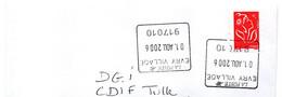 Cachet Manuel Carré Essonne EVRY VILLAGE Code Regate 917010 Ce Cachet De L'Enseigne Ne Devrait Pas être Sur Du Courrier - Manual Postmarks