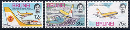Brunei, 1975, Royal Airlines, Airplanes, Aviation, MNH, Michel 211-213 - Brunei (...-1984)