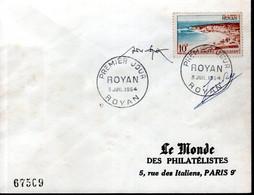 LETTRE 1ER JOUR 1954 - ROYAN - AVEC SIGNATURES GRAVEUR,  JULES PIEL ET DESSINATEUR, ANDRE SPITZ - - 1950-1959