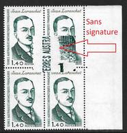T.A.A.F .N°94a** Variété Sans Signature Du Graveur, Bloc De 4 . Cote 168€. - Imperforates, Proofs & Errors