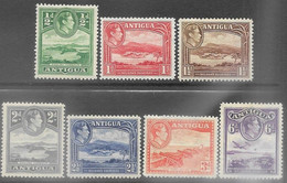 Antigua  1938  Sc#84-90  7 Diff MLH To The 6d  2016 Scott Value $9.75 - 1858-1960 Crown Colony