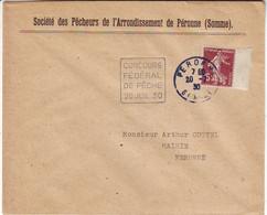 DAGUIN TRES RARE .... CONCOURS FEDERAL DE PECHE 20 JUIL 1930 PERONNE SOMME ( Duree UN Jour !! ) Lettre - 1877-1920: Période Semi Moderne