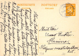 Finland 1944 Postal Stationery Card From Lappeenranta To Hamina (92) - Postal Stationery
