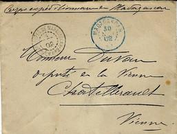 """1902- Enveloppe En F M Avec Cad """" Corps EXPED.de MADAGASCAR / L.V. N°2  Pour La France - Brieven En Documenten"""