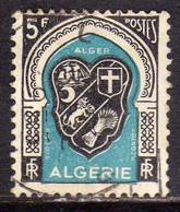 ALGERIA ALGERIE 1947 1949 COAT OF ARMS ARMOIRIES STEMMA ALGIERS FR 5f USED USATO OBLITERE' - Used Stamps