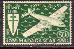 MADAGASCAR MALGACHE MALAGASY REPUBLIC 1943 AIR PAIL POSTE AERIENNE POSTA AEREA PLANE FR 50f  OBLITERE' USED USATO - Airmail