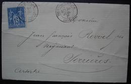 Tournon Sur Rhône (Ardèche)  1881 Lettre Pour Serrières, Convoyeur La Voulte à Lyon à L'arrière (poste Ferroviaire) - 1877-1920: Période Semi Moderne