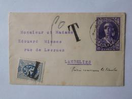 Timbre 327 Sur Enveloppe + Timbre & Griffes Taxe / Belgique Vers 1931 - Briefumschläge