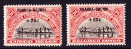 Ruanda 0077/78** Campagnes Coloniales - 1916-22: Mint/hinged