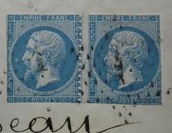 Curiosité ! Paire De N° 22 Coupés Au Ciseaux Sur Lettre De Paris Place De La Bourse , Pour Montmorillon - 1849-1876: Periodo Clásico