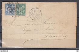 Yv 64 Et 68 Sur Lettre (J. Gauvain - Porcelaine) De PARIS à BRUXELLES - 12 Janvier 1878 - 1876-1878 Sage (Type I)