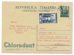 DA GENOVA ALLA GERMANIA ( ZONA BRITANNICA ) - 13.11.1952 - - Postwaardestukken