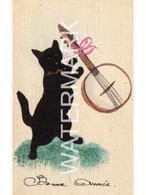BONNE ANNEE OLD FRENCH FELT BLACK CAT FANCY EDGED POSTCARD CAT WITH BANJO - Gatos