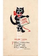 BLACK CAT GOOD LUCK OLD POSTCARD REGENT NO 301 VERSE BY SUSAN HOLTON - Gatos