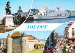76 Dieppe Statue De Duquesne Le Château Ferry Dans Le Port La Grande Rue (carte écrite) - Dieppe