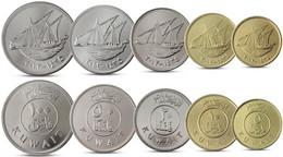 KUWAIT CURRENCY SET 5 COINS 5, 10, 20, 50, 100 FILS UNC - Kuwait