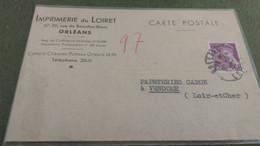 Carte Correspondance (Cachet Loire Et Cher) - 1940 IMPRIMERIE DU LOIRET - ORLEANS - Poste Ferroviaire