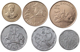 SWAZILAND SET 6 COINS 10, 20, 50 CENTS + 1, 2, 5 EMALANGENI 2015 UNC - Swaziland
