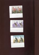 Belgie Andre Buzin 2244 Animals Falcon Bat Flower Orchidee IN PAAR + DRUKDATUM MNH - 1985-.. Pájaros (Buzin)