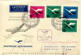 Aérophilatélie-Eroffnungflug DEUTSCHLAND-USA Par Lufthansa-cachet De Frankfort Du 11.06.55 - First Flight Covers