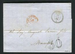 Rare Lettre Du Bureau Français De Tunis Pour Marseille ( 1864 ) - Taxe 30 - Cachet Maritime Rouge Tunis Par Bône Algérie - 1849-1876: Klassik