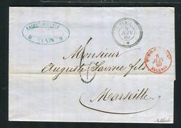 Rare Lettre Du BFE De Tunis Pour Marseille ( 1869 ) - Taxe 6 Décimes - Cachet Maritime Rouge Tunis Par Bône Algérie - 1849-1876: Klassik
