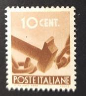1945 -  ITALIA REPUBBLICA - DEMOCRATICA  -   VALORE CENTESIMI 10 - USATO - Unclassified