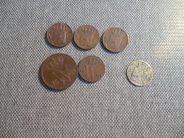6 MONNAIES PAYS BAS BRONZE 1869 1824 18541857 1864 ET ARGENT DE 1826 5 C - [10] Sammlungen