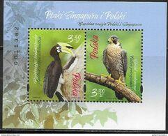 POLAND, 2019, MNH, JOINT ISSUE WITH SINGAPORE, BIRDS, BIRDS OF PREY, TOUCANS, SHEETLET - Águilas & Aves De Presa