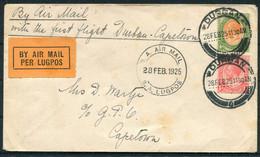 1925 (28th Feb) First Flight Cover Durban - Capetown. Airmail Lugpos - Posta Aerea