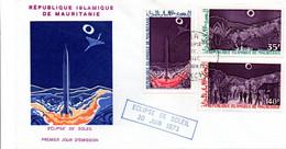 Eclipse De Soleil 1973 - FDC Nouakchott Mauritanie - Astronomie Sun - Concorde Et Fusée - Mauretanien (1960-...)