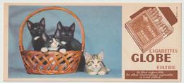 Buvard ? - Publicité Illustrée Tabac Du Globe Cigarettes, Filtre, (1908-1948) (lot N°1) Thème Chats - Tobacco