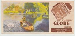 Buvard ? - Publicité Illustrée Tabac Du Globe Cigarettes, Filtre, (1908-1948) (lot N°6)  Thème Pêche - Tobacco