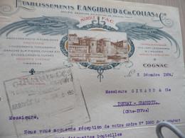 Facture Illustrée Angibaud Collas Cognac Imprimerie - Old Professions
