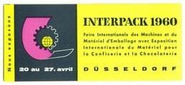"Düsseldorf 1960 "" INTERPACK Fachmesse Machines Pour Confiserie-u.Chocolaterie "" Vignette Cinderella Reklamemarke - Cinderellas"