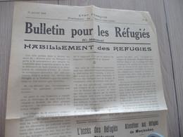 Guerre 39/45  Etat Français Gouvernement De Vichy Tarn Et Garonne Bulletin Pour Réfugiés 15/01/1942 N° 20 - Documentos
