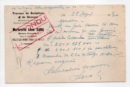 - Carte Postale MARBRERIE Léon SARA, BULLY-LES-MINES (Pas-de-Calais) Pour ECAUSSINNES (Belgique) 29.9.1930 - - Cartas